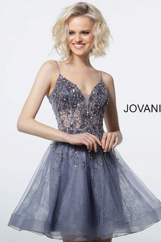 Jovani 2527 spaghetti straps fit and flare homecoming dress