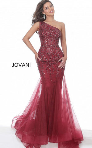 Jovani 2528 One shoulder embellished mermaid prom dress
