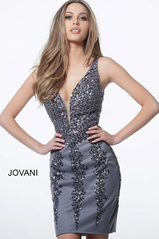 Jovani 2530 plunging neckline embellished fitted homecoming dress
