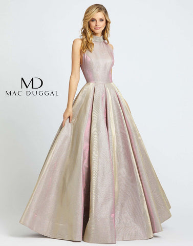 Cassandra Stone by Mac Duggal 25957A - 25957 is a Long metallic shimmering Pleated A Line Shirt with a high neckline and rows of crystal rhinestones creating a choker look. Fitted bodice with v sides for a comfortable wear. great formal evening gown for Prom & Pageants!  Available Sizes: 0,2,4,6,8,10,12,14,16  Available Colors: Pretty In Pink, Shimmering Ice, White Ice