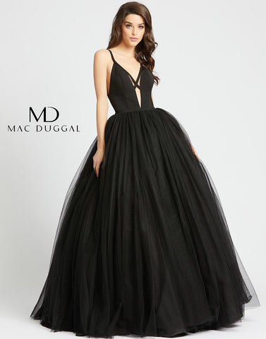 Mac Duggal 26028H This black dress has an open back, a plunging v-neckline, criss cross detail across the front, and a defined waistline. These details along with the full tulle skirt of this dress allows for the traditional ballgown silhouette to have a fabulous modern twist. Long A Line Formal Ball Gown Prom Dress. Plunging Neckline. Backless evening Dress.  Available Sizes: 0,2,4,6,8,10,12,14  Available Colors: Jet Black, Sapphire
