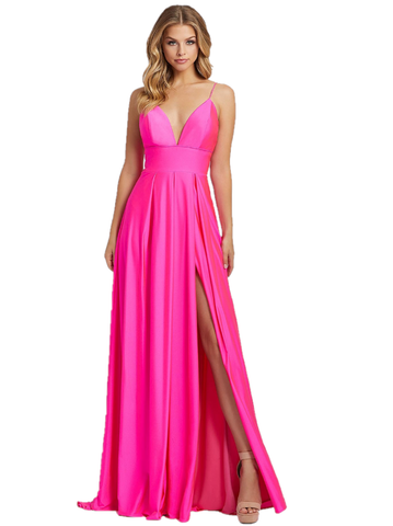 Mac Duggal IEENA 26165I Long Sheath Maxi Slit Formal prom dress. featuring a v neckline with spaghetti straps. Formal evening gown. Maxi slit pageant dress.  Available Sizes: 0,2,4,6,8,10,12,14,16  Available Colors: Electric Pink, Sunshine Yellow and Black