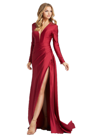 Mac Duggal IEENA 26250I Turn your perfect night into reality in style 26250I! This silk a-line gown has long sleeves, a v-neckline, and sexy leg slit. This is available in both burgundy and emerald green. Long Sleeve Plunging V Neckline full coverage back. Ruched asymmetrical maxi slit with sweeping train. Mother of Gown, Pageant dress.  Available Size: 2,4,6,8,10,12,14,16  Available Colors: Burgundy, Emerald Green