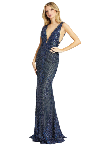 Mac Duggal 26258M Midnight blue trumpet style prom dress with lace overlay, plunging neckline and sweep train. Long Fitted Beaded formal prom dress, Backless Pageant gown. V neckline. Evening gown. Available Sizes: 0,2,4,6,8,10,12,14  Available Colors: Midnight/Blue
