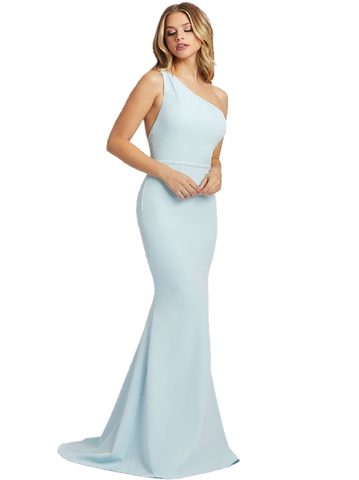 Mac Duggal IEENA 26266I Look vibrant in this body-con mermaid dress! Style 26266I is a powder blue gown with an asymmetrical neckline and simple belt. The open back adds elegant detail finished with a court train. Long Fitted One Shoulder Formal Mermaid Dress Blue. Available Sizes: 0,2,4,6,8,10,12,14  Available Color: Powder Blue