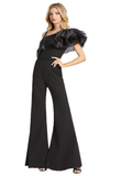 Mac Duggal IEENA 26314I is a long Formal Jumpsuit with an asymmetrical layered Ruffle accented One Shoulder Illusion Neckline with opposite strap. Long Bell Bottom Flare Pant Legs. Simple belt on waist. Perfect for Prom, Pageants & Almost any formal event!  Available Sizes: 0,2,4,6,8,10,12  Available Colors: Black, White