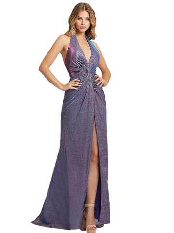 Mac Duggal IEENA 26341I Be the star of the night in this dazzling wrap dress. Style 26341I is available in lavender twinkle, has a halter neckline, and leg slit. Halter with a V neckline ruched bodice high low front slit. Iridescent Shimmer fabric.   Available Sizes: 0,2,4,6,8,10,12,14,16  Available Colors: Lavender