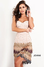 Jovani 2657 Multi Fringe skirt cocktail dress paillette bodice sheath dress