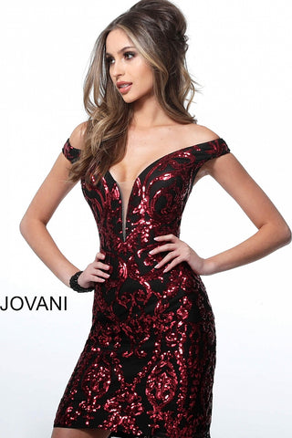 Jovani 2666 Homecoming dress  Off the shoulder plunging neckline fitted sequin cocktail dress  Black/Red, Black/Royal, Black/Green, Black/Gold  Size 00, 0, 2, 4, 6, 8, 10, 12, 14, 16, 18, 230, 22, 24