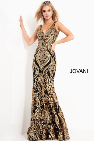 Jovani 2669 Is a Stunning Long Fitted Sequin Embellished Prom Dress. Features an Damask Print Embellishments With a Deep V Plunging Neckline, Open Back and Flare at bottom of skirt. Sequin embellished fabric, form fitting silhouette, floor length, sleeveless bodice, plunging sweetheart neckline with sheer mesh insert for support, V back, straps over shoulders.