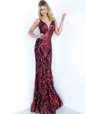 Jovani 2669 Size 0 Long Fitted Sequin Embellished Plunging Neck Prom Dress 2020 Shimmer