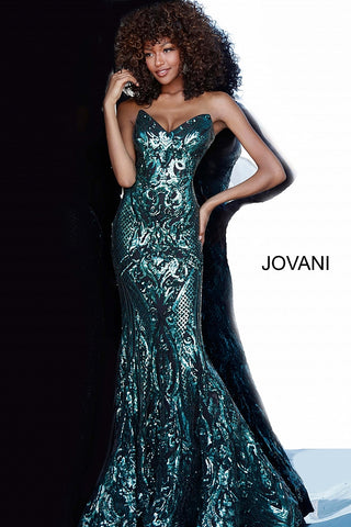 Jovani 2670 Long Fitted Sequin Embellished 2020 Prom Dress Mermaid Sweetheart Neckline
