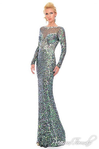 Lux Gal style 9133 Size 12 Long Sleeve Sequin Formal Sheer Prom Dress Pageant