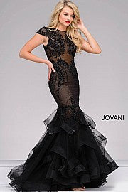 Jovani 26947 Cap Sleeve Sheer Illusion beaded mermaid prom dress Pageant Gown