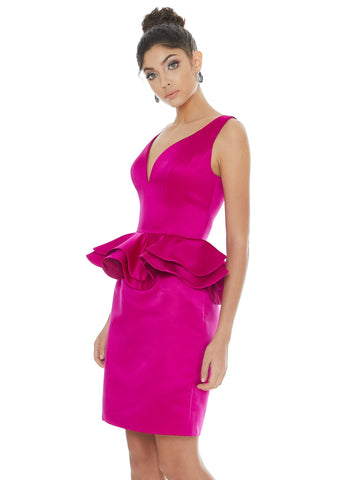 Ashley Lauren 4217 Peplum heavy satin v neckline fitted cocktail dress pageant wear.  Make a statement in this peplum satin cocktail dress. The V-neckline and V-back add a modern flair to this classic silhouette