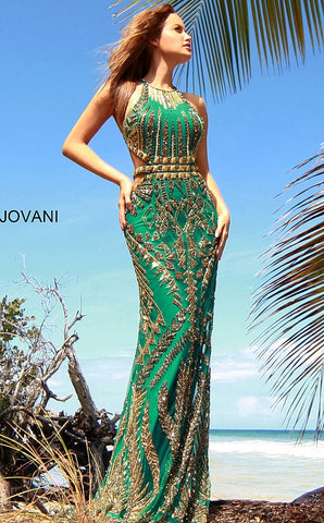 Jovani 2720 Teal Gold Embellished Geometric Aztec Prom Dress Evening Gown 2020