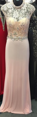 JVN27620  Stunning cap sleeve form fitting blush prom dress features a lace top embellished with crystals and open back and long fitted stretch jersey skirt  Size 00 blush prom dress evening gown ready to ship
