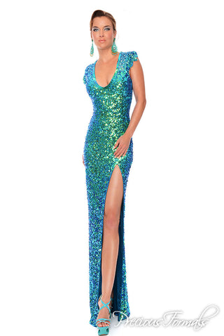 Precious Formals style 9057 Sequin Long Fitted size 8 prom dress Slit Formal sheer