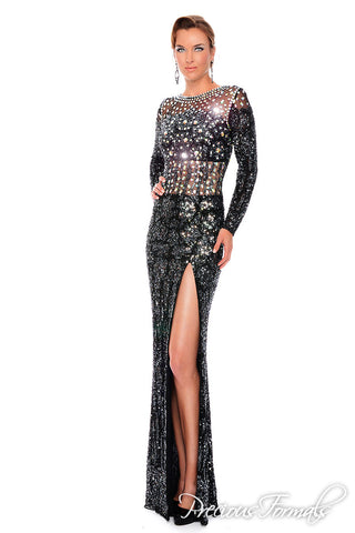 Precious Formals P 9091 is a slim fit fully hand beaded prom dress evening gown with illusion top and fully beaded long sleeves with illusion waist design and side slit.