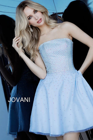 Jovani 2830  Strapless Fit and Flare straight neckline embellished Cocktail Dress homecoming dress, wedding reception dress   blush, light-blue, off-white  Sizes 00-24