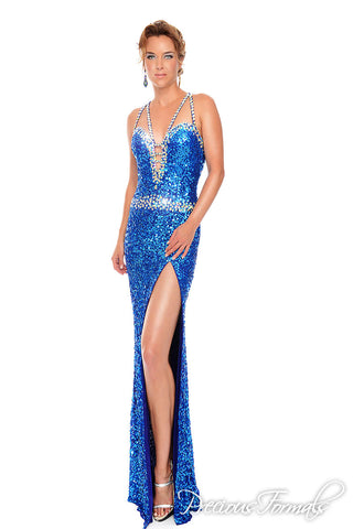 Precious Formals P9092 in Crystal Royal Blue size 12 pageant dress