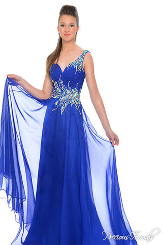 Precious Formals Glam Gurlz S53012 in Royal size 0 prom dress