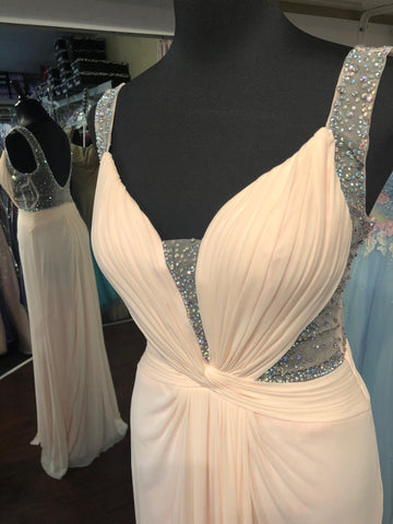 JVN by Jovani 29120 Deep V neckline gown in Light pink size 8