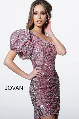 Jovani 2921 Pink multi one bubble sleeve short cocktail dress