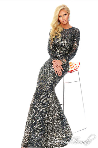 Precious Formals style L9191 in pewter size 20 prom dress