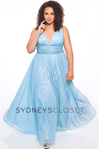 Sydneys Closet SC7284 v neckline and v back wide straps and flowy A line skirt long metallic prom dress evening gown