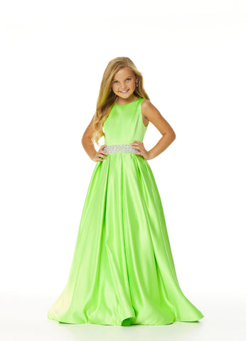 Ashley Lauren 8028 High Neckline Heavy Satin Little Girls and Tweens Pageant Dress Ball Gown with high back sleeveless design.  This Dress features an embellished waistline and pleated long skirt. Colors Neon, Coral  Sizes  6, 8, 10, 12, 14
