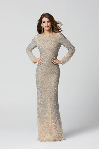 Primavera Couture 3361 Sizes 2-24 Beige long sleeve beaded evening gown