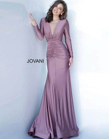 Jovani 1850 long sleeve fitted v neckline evening gown ruched waistline mother of the bride dress   Available colors:  Mauve, Black  Available sizes:  00-24