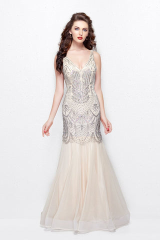 Primavera Couture 3001 size 4 nude beaded mermaid prom dress