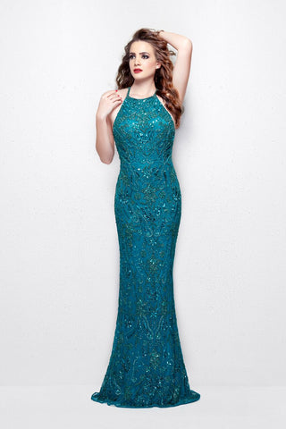 Primavera Couture 3007 Size 0 teal Prom Dress Pageant Gown