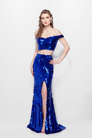 Primavera Couture 3008 Off the Shoulder Sequin Two Piece Prom Dress Slit