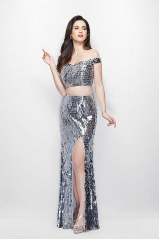 Primavera Couture 3008 Size 6, 12 Two piece sequin Prom Dress slit off the shoulder
