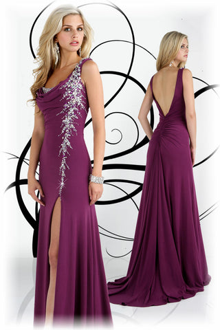 Xcite Prom Dress cowl neck evening gown Violet Size 2 slit Jersey Train