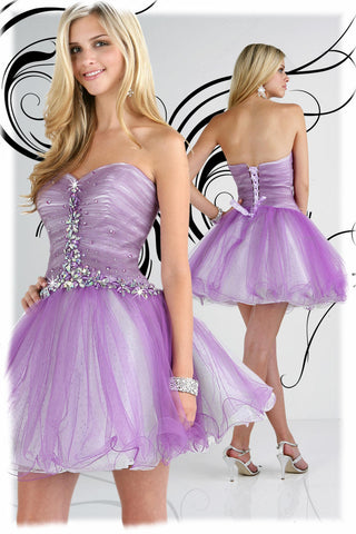 Xcite 30192 Size 10 Short flare ruffle party Dress Cocktail Corset Tulle