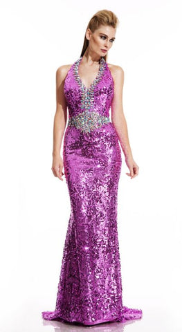 Johnathan Kayne 302 Size 6 Long Sequin Halter Pageant Dress Backless Gown