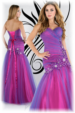 Xcite Prom Dress 30203 Royal Fuchsia size 12 Mermaid Flare Pageant Gown