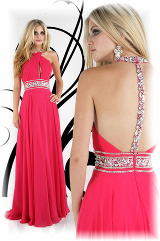 Xcite Prom Dress 30212 Fuchsia size 8 Pageant Gown Crystal straps Keyhole Chiffon