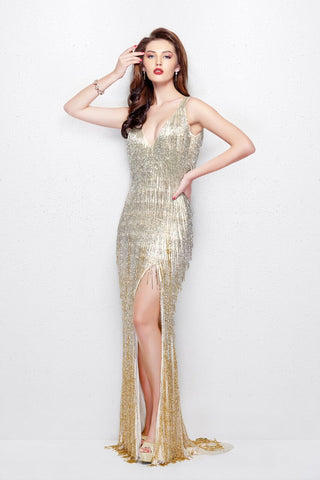 Primavera Couture 3031 size 24 nude/gold Prom Dress Pageant Gown