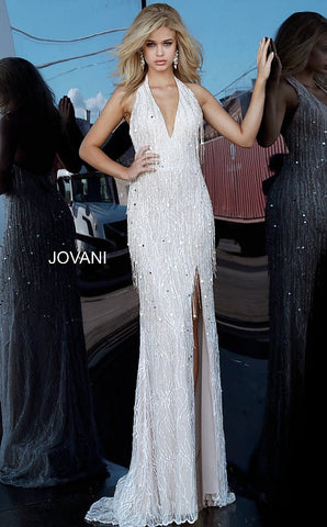Jovani 3036 Long Fitted V Neck Halter Evening Dress Wedding Fringe Slit Halter 2020