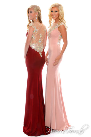 Precious Formals P35091 Burgundy size 2 Stretch Satin gown prom dress