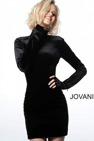 Jovani 3043 short velvet long sleeve high neckline cocktail dress