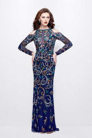 Primavera Couture 3044 long sleeve cold shoulder fully beaded long formal dress evening gown mother of the bride groom dress.