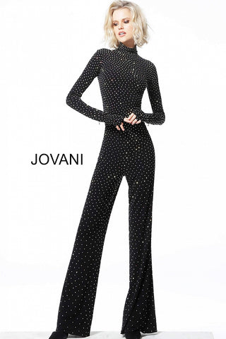 Jovani 3048 Black Beaded High Neck Long Sleeve Jumpsuit 3048 This Jovani 3048 black contemporary jumpsuit has a fitted silhouette in beaded jersey, with gloved long sleeves and a  neckline and closed back. It has flared pants legs that are embellished throughout.