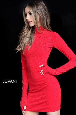 Jovani 3049 high neckline beaded fitted long sleeve cocktail dress