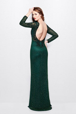 Primavera Couture 3051 size 4 green long sleeve prom dress ...